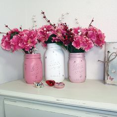 Items similar to Hand Painted Mason Jars Flower Vases-Whicker White Enamored & Fading Rose -Country Decor-Cottage Chic-Shabby Chic-French Chic on Etsy Pink Mason Jars, Mason Jar Flowers, Painted Mason Jars, Bottles And Jars, Flower Vases, Fake Flowers, Glass Jars, Valentines Day Decorations, Valentine Day Crafts