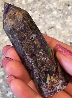 98g VERY RARE CHAROITE IN AEGERINE CRYSTAL GEMSTONE TOWER / WAND (8.2cm) | eBay Crystals For Sale, Crystals And Gemstones, Rainbow Band, Rare Crystal, Calcite Crystal, Cherry Blossom Flowers, Crystal Shapes, Crazy Lace Agate, Wands