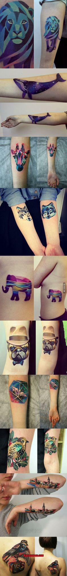 animal tattoos, colorful animals and tattoos. #tattoo #tattoos #ink