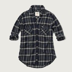 Navy Plaid Flannel Shirt Abercrombie