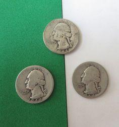 1944 Washington 90% Silver Quarters WORN Circulated 3 coins