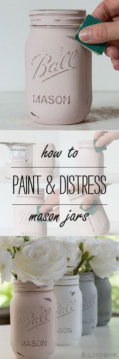 How to create lavender flower painted mason jars. Mason jar craft ideas with paint. Distressed Mason Jars, Painted Mason Jars, Mason Jar Painting, Chalk Paint Mason Jars, Mason Jar Candles, Bottle Painting, Distressed Mantle, Distressed Kitchen, Vintage Mason Jars