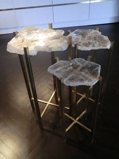 1970s Italian Gypsum Crystals Side Tables | From a unique collection of antique and modern side tables at https://www.1stdibs.com/furniture/tables/side-tables/