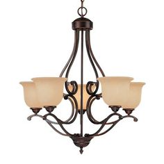 Millennium Lighting Courtney Lakes 5-Light Rubbed Bronze Chandelier. For dining room.