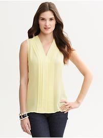 Yellow silk pleat-front blouse