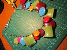 Necklace made with acrylic chunks. Good for any neutral outfits