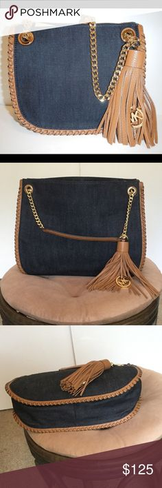 MICHAEL KORS Dark Denim Whipped Chelsea Small bag MICHAEL KORS Dark Denim Whipped Chelsea Small Messenger handbag. Authentic. New without tags. Great bag for the spring ! Michael Kors Bags Totes