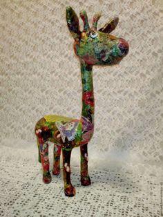 Купить Жираф Лесной Папье-маше - зеленый, зеленый цвет, лесной, жирафик, жираф игрушка