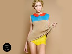 Knitted sweater top beige blue orange red collar theknitkid. 119,90, via etsy.