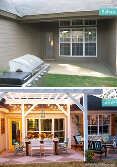 *I love how we would have a place for those fantastic outdoor light strings if we did this at one end of the deck. Before and After: Inspiring Porch and Patio Makeovers » Curbly | DIY Design Community