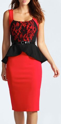Red Midi Peplum Dress W/ Lace