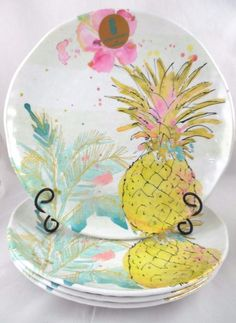 OUTDOOR COLLECTION SET (4/8) PINEAPPLE FLAMINGO MELAMINE DINNER PLATES NEW!