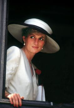 Princess Diana at Portsmouth for a ceremony celebrating the safe return of the Royal Hampshire Regiment from the Gulf War, August 1991.