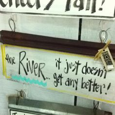 River sign from Crying Shame Primitive Wood Signs, Rustic Wood Signs, River House Decor, Pool Signs, Cottage Signs, River Cottage, Rustic Crafts, Diy Camping, Hand Painted Signs