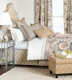 Edith - english traditional bedding, english countryside bedding,botanical bedding,neutral floral,floral bedding,large floral,earth tone,muted,gray and tan,light gray,cottage,tan