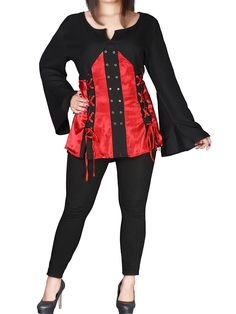 381a9ef008d69 Pirate Queen Goth Grommet Blouse by eaonplus Butter soft Goth style blouse  - flaring long sleeves