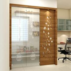 Project @ gachibowli asian style study/office by shree lalitha consultants asian plywood Glass Partition Designs, Living Room Partition Design, Pooja Room Door Design, Home Room Design, Home Interior Design, Temple Design For Home, Indian Home Design, Asian Style Bedrooms, Little House Plans