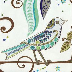 RETRO Valori Wells WRENLY WREN Mod Bird Fabric