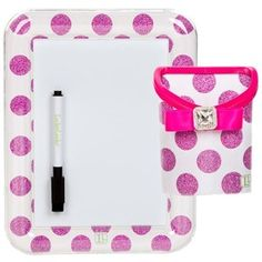 Locker Lookz Dry Erase Board and Bin Set 2014 Limited Edition (Set of 2) (Pink Polka Dot)