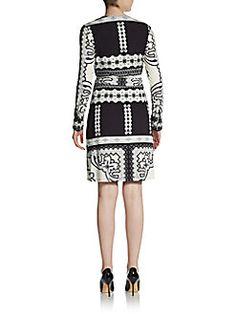 33a7f6b5347e Tapestry Print Wrap Dress Print Wrap