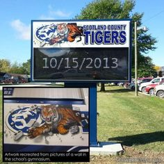 Our artists worked with Scotland County High School to take the iconic tiger mural from their gymnasium and make it the highlight of their new sign! Outdoor Led Signs, Tiger Images, People Working Together, Customer Stories, Up For The Challenge, School Signs, Vinyl Signs, Effective Communication, Cloud Based