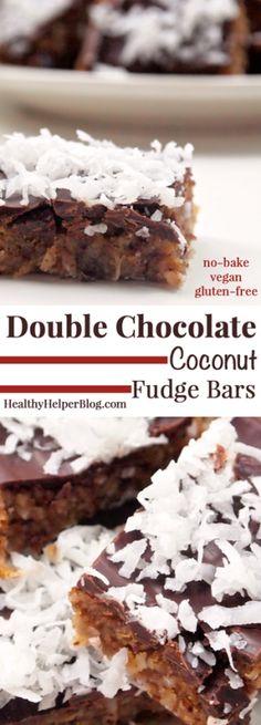 Double Chocolate Coconut Fudge Bars vegan + gluten-free...delicious no-bake fudge bars that are healthy but taste indulgent!