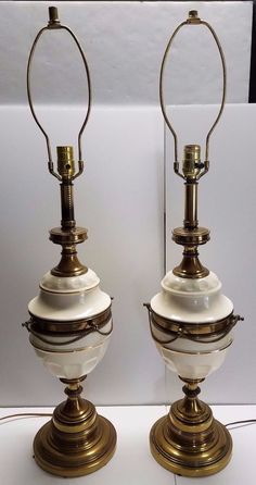 Pair of Mid Century Modern Ceramic Pottery Brass Lamps Hollywood Regency Stiffel #StiffelLamp