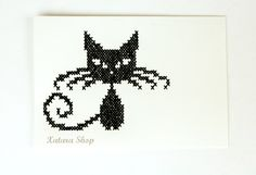 Cross stitch card. Embroidery cat wall art for framing with customizable message. Etsy.