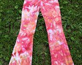 Yoga Pants - Tie Dyed - Ice Dyed - bullseye - Sunset - Size Medium