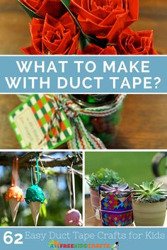 Duct tape was created as a make-shift adhesive, and now unbelievable kids'… Duct Tape Projects, Washi Tape Crafts, Duck Tape Crafts, Crafts For Kids To Make, Crafts To Sell, Kids Crafts, Duct Tape Flowers, Tape Art, Upcycled Crafts