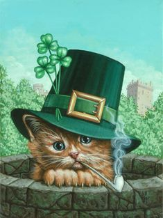 Celebrate St Patrick's Day with Kitty Kelly ~*~ Jill Bauman, St Patricks Day Cards, Happy St Patricks Day, Crazy Cat Lady, Crazy Cats, I Love Cats, Cool Cats, Animals And Pets, Cute Animals, Cat Cards