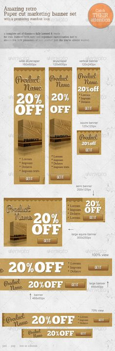 Retro Paper-cut Web Marketing Banners  #GraphicRiver            THEY WILL LOOK AT YOUR AD YOU WILL GET ATTENTION , 100% GUARANTEED   this pack has been designed to catch people's eye. and its totally well capable to do that. an unique and fancy design that will drag traffic your page literally. and it contains all the sizes that you can ever need for the ad spaces.   Included Sizes:    Wide Skyscraper – 160×600 Skyscraper – 120×600 Large Square – 300×250 Large Banner – 728×90 Banner –…