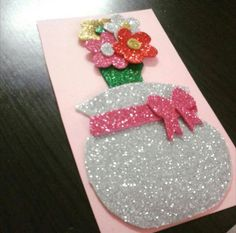 Öğretmenler günü Preschool Crafts, Fun Crafts, Diy And Crafts, Paper Crafts, Mother's Day Projects, Projects For Kids, Tissue Paper Art, Mothers Day Crafts For Kids, Glitter Crafts