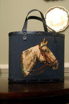 vintage horse bucket bag purse tote nailhead trim by adhocdecor