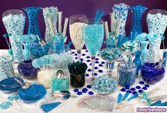 Need a candy buffet to spice up your wedding or holiday party but don't know where to start? Use Candy Warehouse's buffet builder to make your candy bar a hit! Blue Candy Bars, Blue Candy Buffet, Candy Buffet Tables, Candy Table, Buffet Ideas, Bar A Bonbon, Blue Food, Party Decoration, Sweet 16 Parties