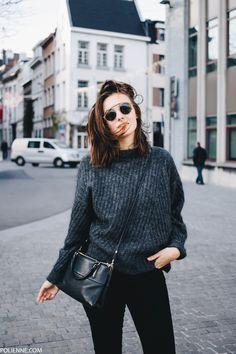 POLIENNE   wearing an Acne knit, Cheap Monday denim, Coach bag
