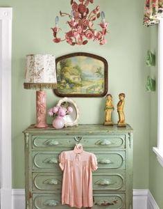 Guest Bedroom Bedroom Vintage, Vintage Shabby Chic, Shabby Chic Decor, Vintage Decor, Vintage Green, Vintage Country, Shabby Chic Green, Vintage Room, Rustic Decor