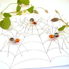 Handmade Brown and Blue Spiders Three Medium by SpiderwoodHollow, $20.00