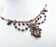 Choker necklace, black and red necklace, gothic choker, wire wrapped copper jewelry via Etsy