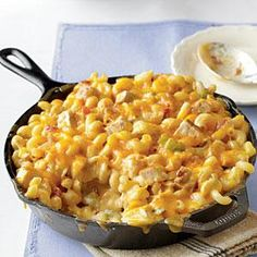 King Ranch Chicken Mac and Cheese | This was so good! I used lite sour cream; couldn't find the type of pasta called for so I used shells. I made it in a 7 x 11 in dish. It was a hit so I will definitely make it again.