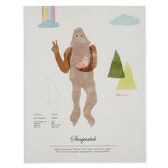 Rare Sightings Wall Art (Sasquatch) -- baby / nursery