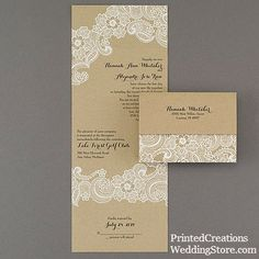 Lacy Accents Seal' n Send Invitation - romantic white lace accents this charming all-in-one wedding invitation printed on kraft paper for a rustic look.   www.PrintedCreationsWeddingStore.com.    #rusticweddinginvitations