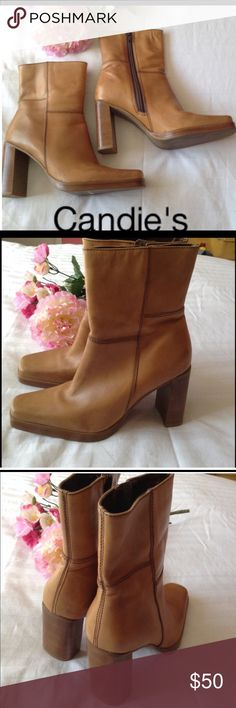 Candies Cognac Leather Booties 7 NWOT Candies Cognac Leather Booties, square toe, 4 inch square heel, size 7 NWOT Shoes Ankle Boots & Booties