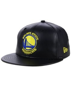 New Era Golden State Warriors Black Faux Leather 59FIFTY Fitted Cap - Black  7 1  c1a084c2a65