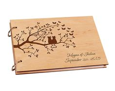 Personalized Wooden Wedding Guestbook Engagement Guest Book for Signature Custom Wood Rustic Signature Photo Album for Wedding
