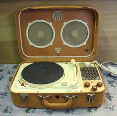 Teppaz suitcase valve record player, UK 1960s