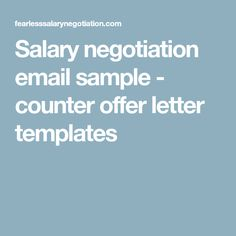 Salary Negotiation Email  Free Counter Offer Template  Fearless