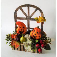 jesenná dekorácia Veselé tekvice 22 x 10 x 26 cm Wreaths, Christmas Ornaments, Halloween, Holiday Decor, Home Decor, Decoration Home, Door Wreaths, Room Decor, Christmas Jewelry