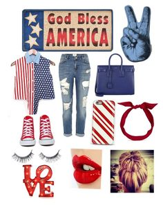 """America"" by darrionne-r-adams ❤ liked on Polyvore featuring River Island, Converse, Yves Saint Laurent, yunotme and Charlotte Tilbury"