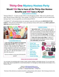March Mystery Hostess Party!!!! -- clever idea for all my fellow consultants :)